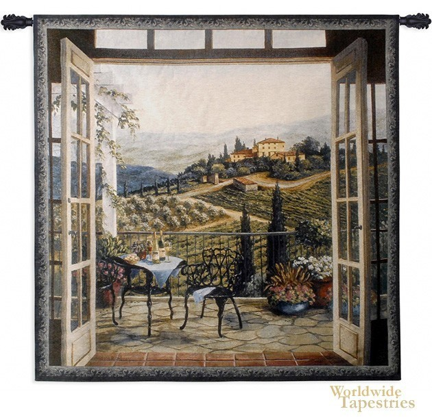 Superb Balcony View Of The Villa Tapestry Image