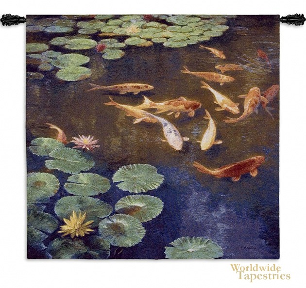 Oriental koi pond oriental wall hangings worldwide for Koi wall hanging