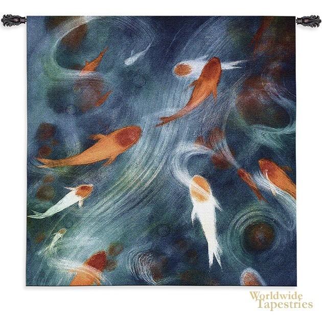 Koi pool asian fish wall hangings worldwide tapestries for Koi show pools
