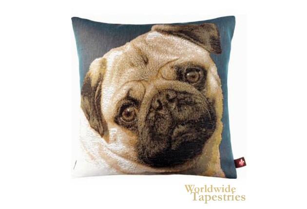 Pugs Face Blue Cushion Cover