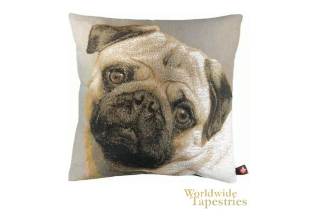 Pugs Face Grey Cushion Cover