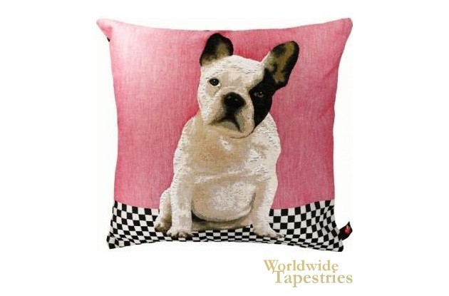 Puppy Bulldog Pink Cushion Cover