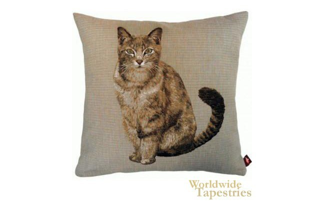 Tabby Cat Light Grey Cushion Cover