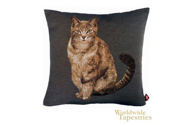 Tabby Cat Dark Grey Cushion Cover