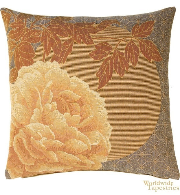Peonies Yellow Cushion Cover