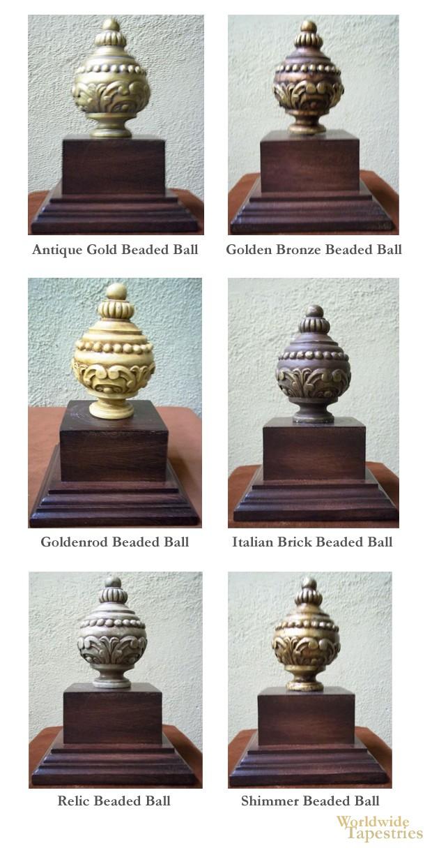 Beaded Ball Finial Set