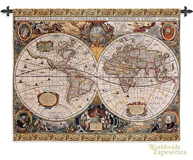Antique Map Geographica World Map Tapestries