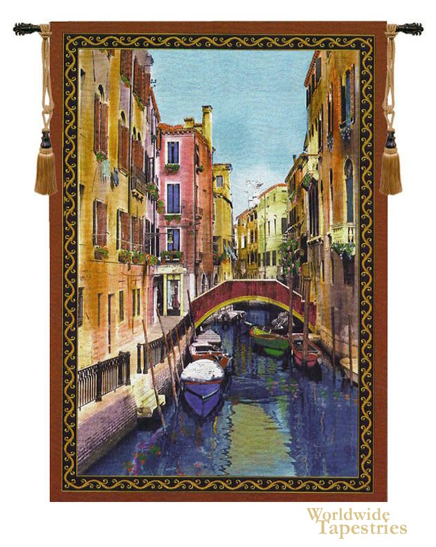 Canal with Shops Tapestry