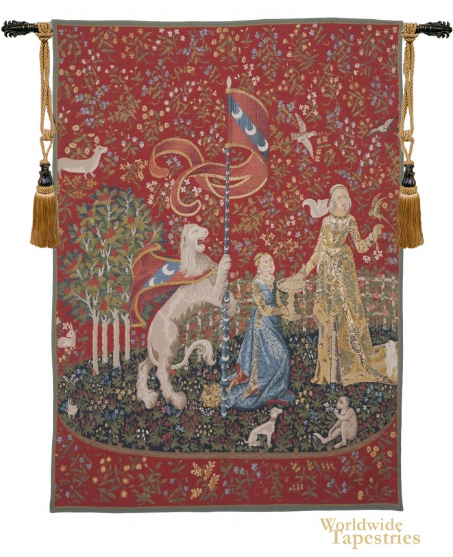Handwoven Le Gout Detail - Lady and the Unicorn (Taste) Tapestry