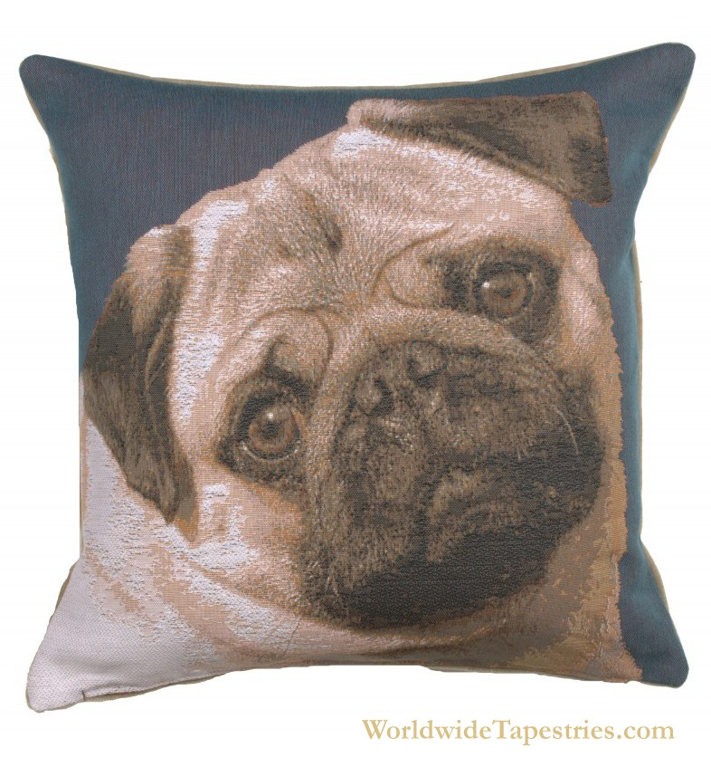 Pugs Face Blue Cushion Cover