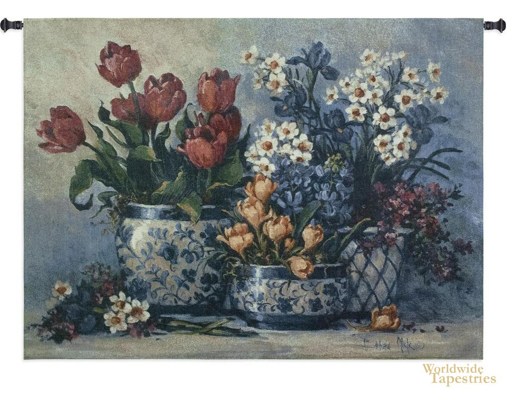 Spring Garden in Blue Tapestry