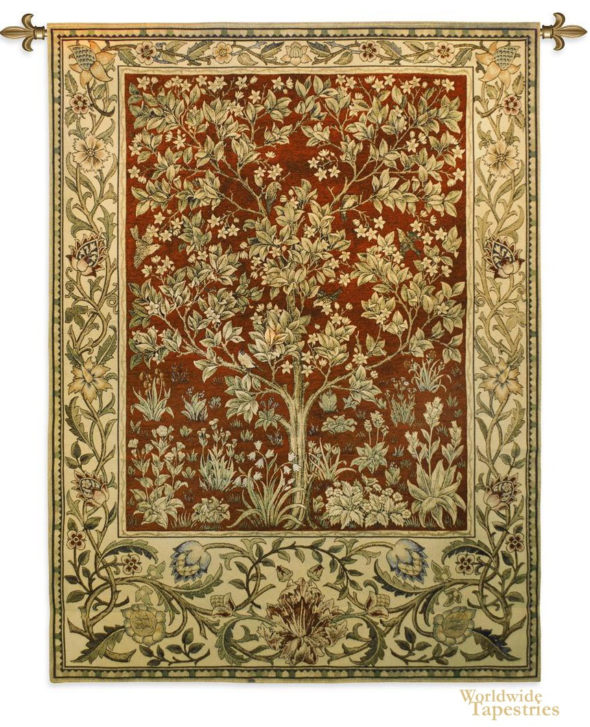 Tree of Life Red Tapestry