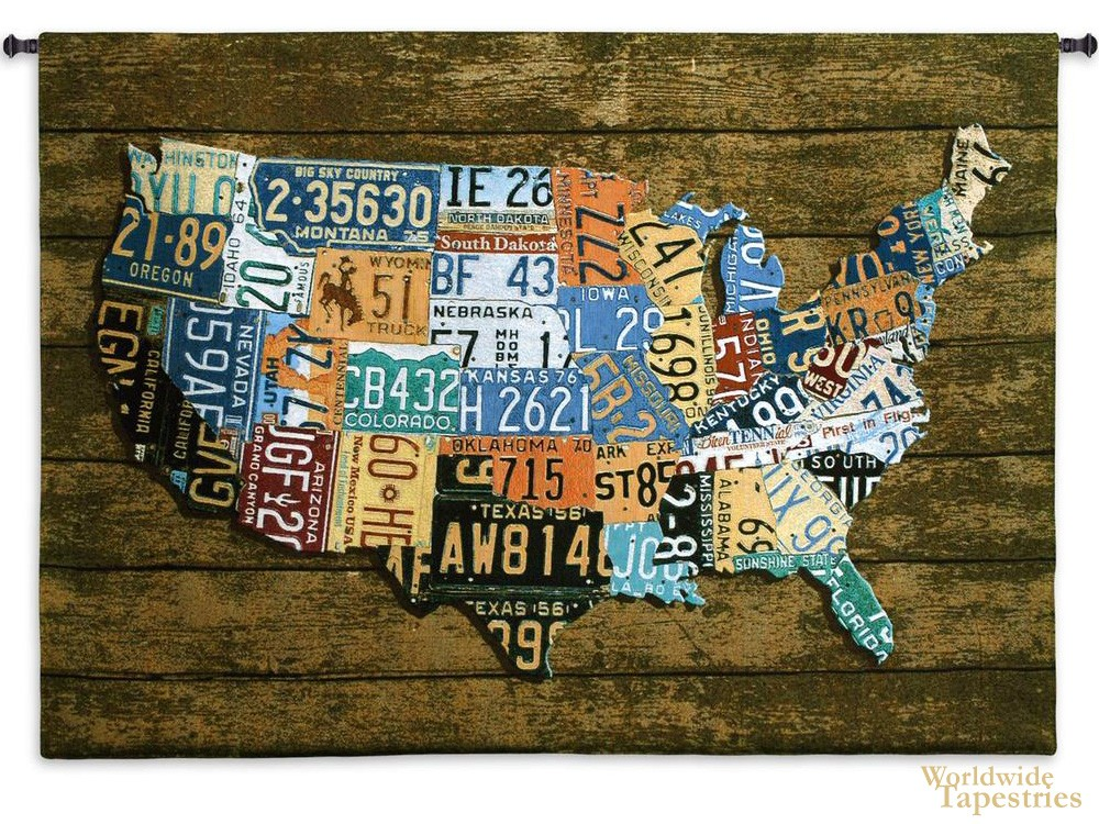 Usa Tag On Wood World Map Tapestries Worldwide Tapestries
