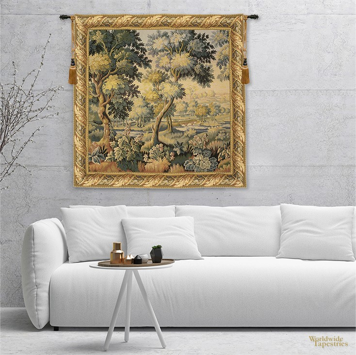 living room with Foret de Compiegne tapestry
