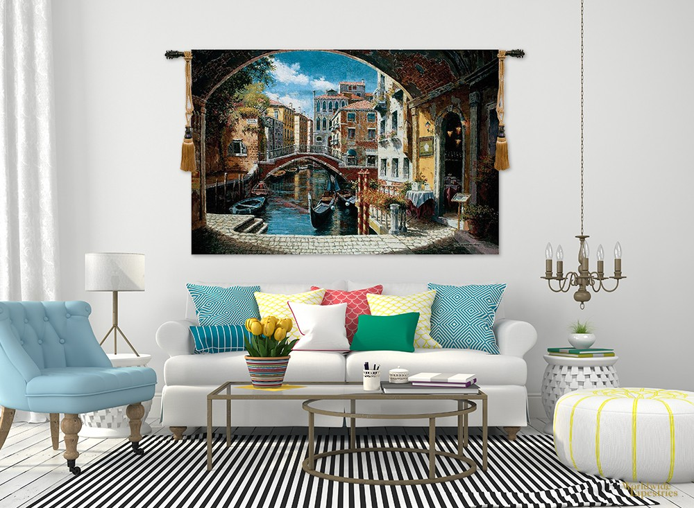 lounge with Archway to Venice wall tapestry