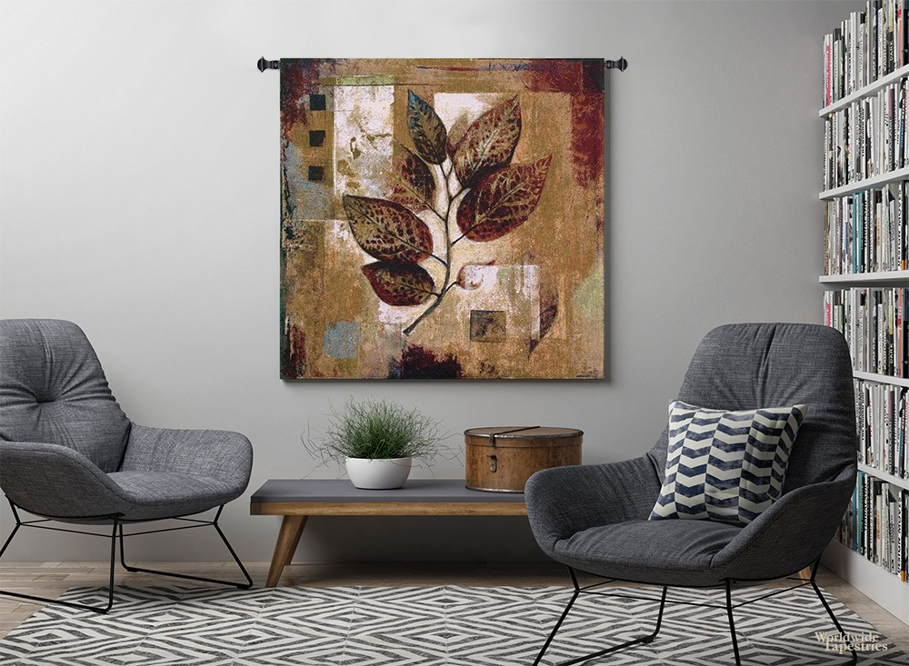 library decor with Abstract Autumn tapestry