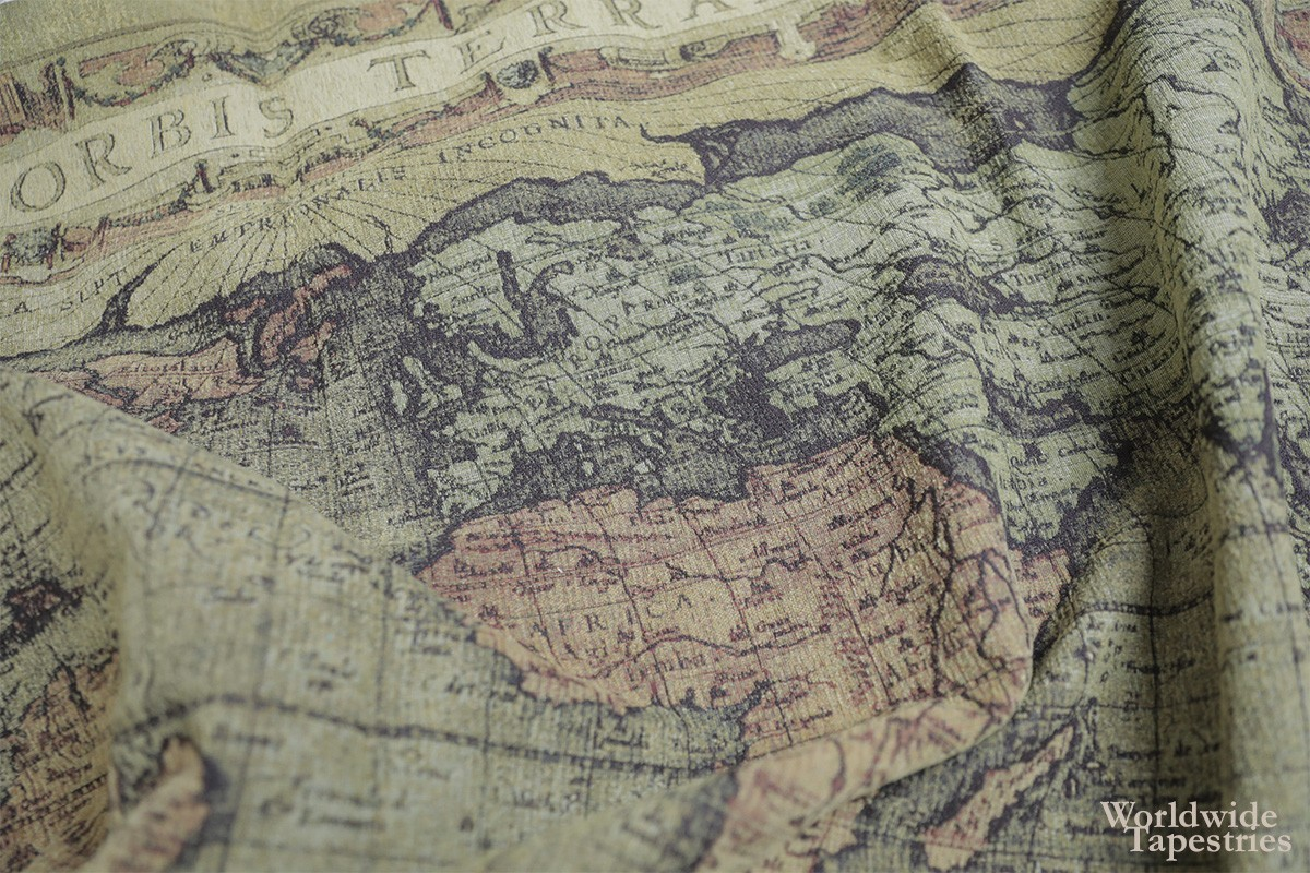 world map tapestry close up