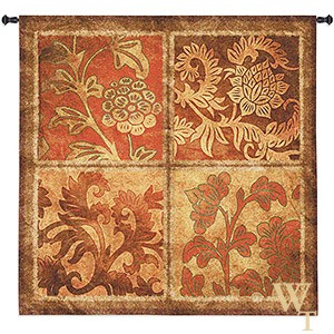 Botanical Scroll Tapestry