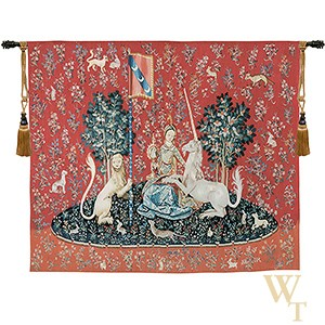 Handwoven La Vue - Lady and the Unicorn (Sight) Tapestry