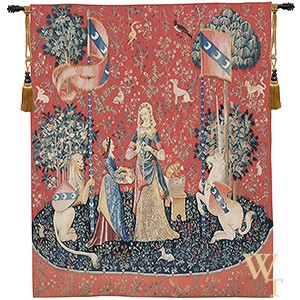 Handwoven L'Odorat - Lady and the Unicorn (Smell) Tapestry