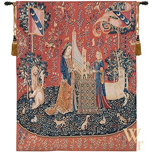 Handwoven L'Ouie - Lady and the Unicorn (Hearing) Tapestry