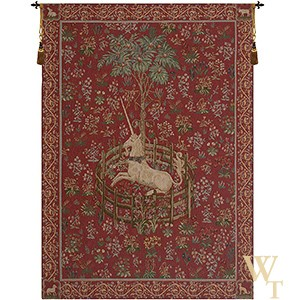Licorne Captive - Red Tapestry