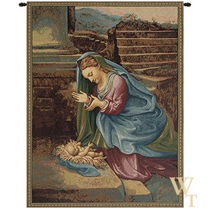 Madonna Adoring the Child Tapestry