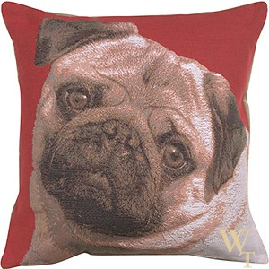 Pugs Face Red Cushion Cover
