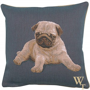 Puppy Pug Blue Cushion Cover