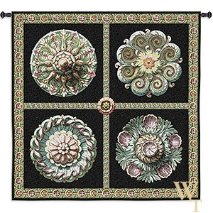 Rosettes on Black Tapestry