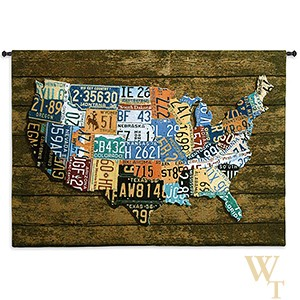 USA Tag on Wood Tapestry