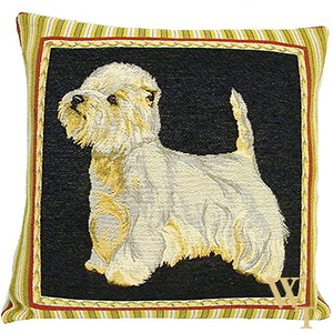 White Terrier Cushion Cover