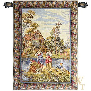 Women Washing by the Lake Tapestry